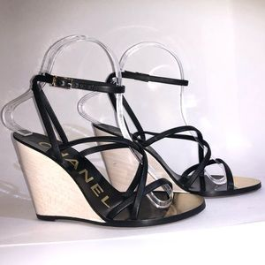 CHANEL Black wedge sandals Size 36.5